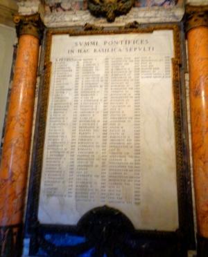 Berühmte Liste aller Päpste im Petersdom Vatikan